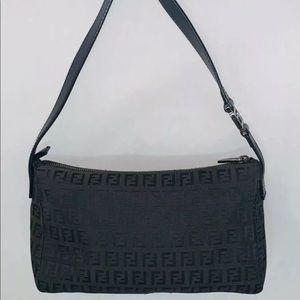 FENDI Small Zucca Monogram Canvas Shoulder Bag